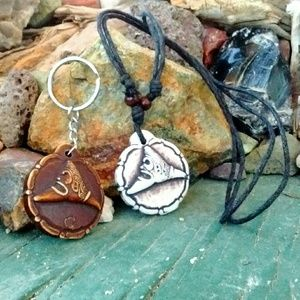Other - Surfer Necklace & keychain set reversible Taino